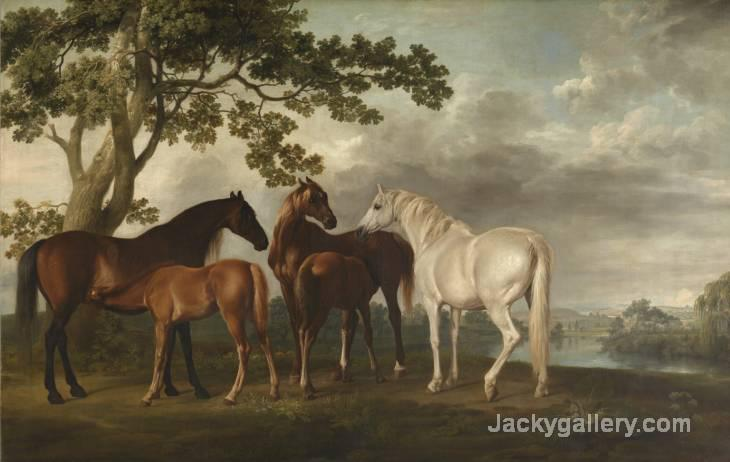 Mares and Foals in a River Landscape c. by George Stubbs paintings reproduction