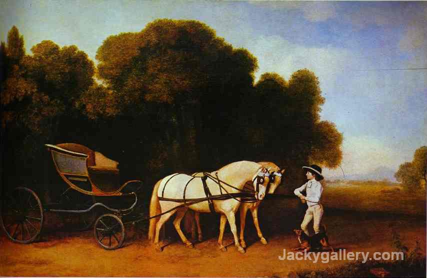 Park Phaeton With A Pair Of Cream Pontes In Charge Of A Stable Lad With A Dog by George Stubbs paintings reproduction