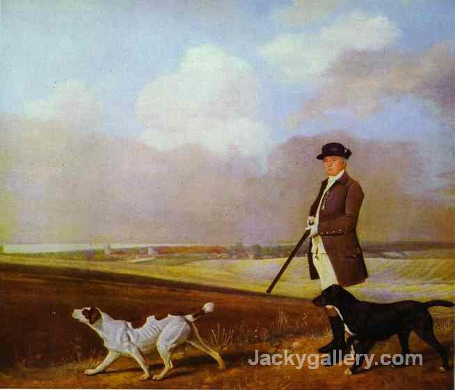 Sir John Nelthorpe, 6th Baronet Out Shooting With His Dogs In Barton Field, Lincolnshire by George Stubbs paintings reproduction