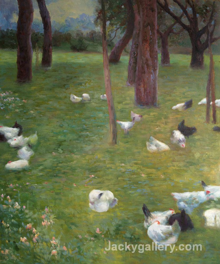 After the rain, Garden with Chickens in St. Agatha by Gustav Klimt paintings reproduction