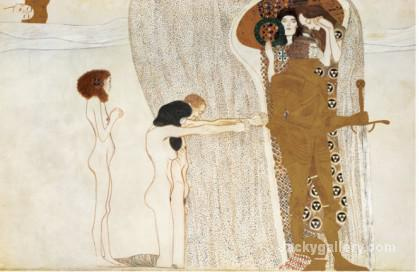 BEETHOVEN FRIEZE DESIRE FOR HAPPINESS, C. by Gustav Klimt paintings reproduction