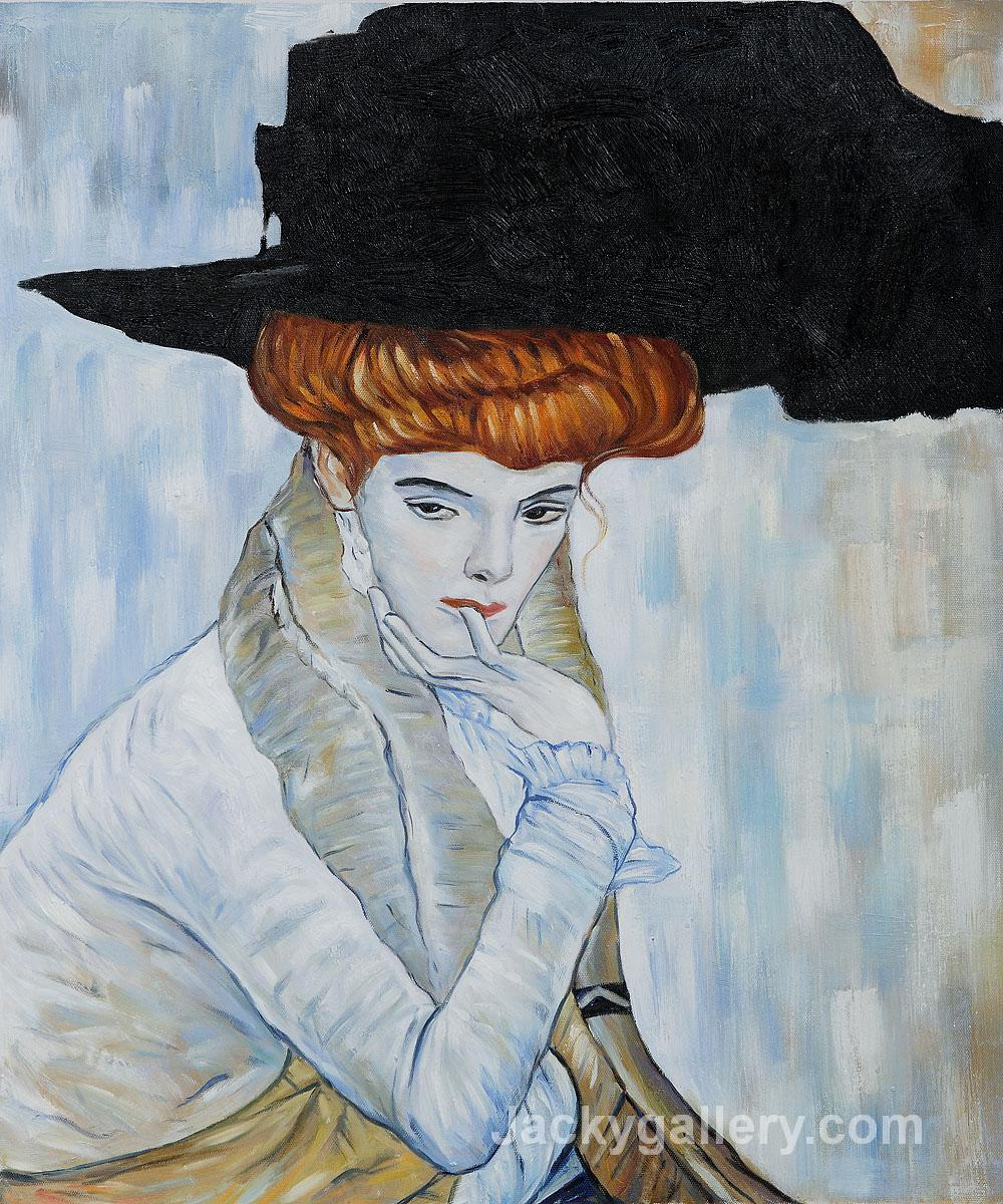 Black Feather Hat II by Gustav Klimt paintings reproduction