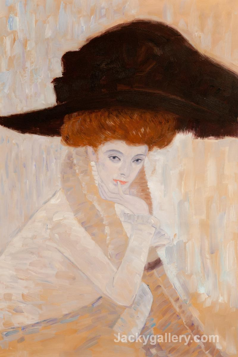 Black Feather Hat by Gustav Klimt paintings reproduction