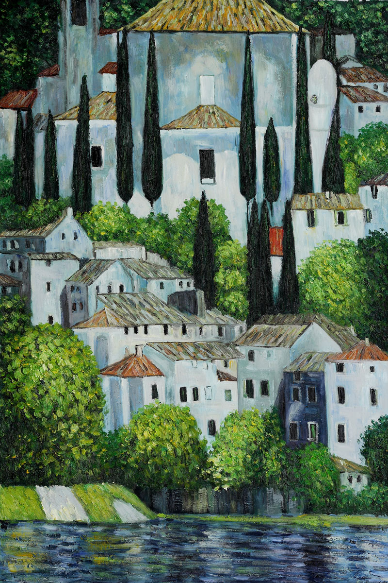 Church in Cassone (Landscape with Cypress) Oil Painting by Gustav Klimt