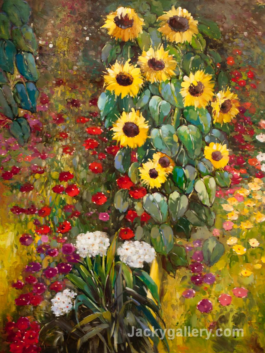 Farm Garden with Sunflowers Yellow by Gustav Klimt paintings reproduction