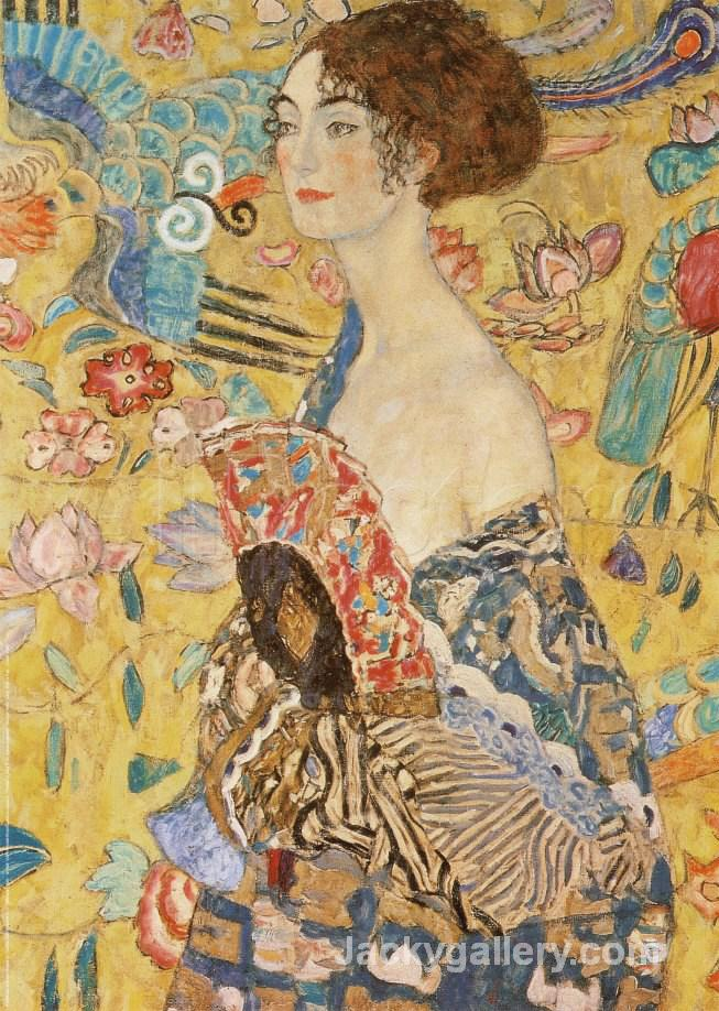 Lady with a Fan by Gustav Klimt paintings reproduction
