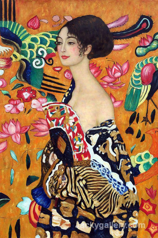 Signora con Ventaglio by Gustav Klimt paintings reproduction