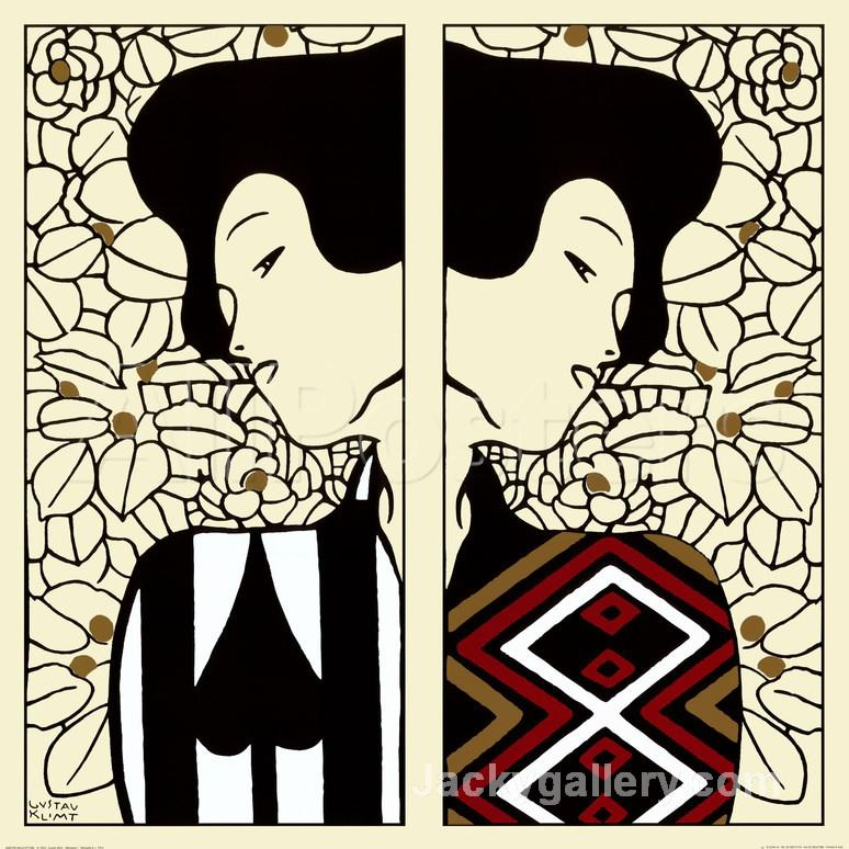 Silhouette I and II, c. by Gustav Klimt paintings reproduction