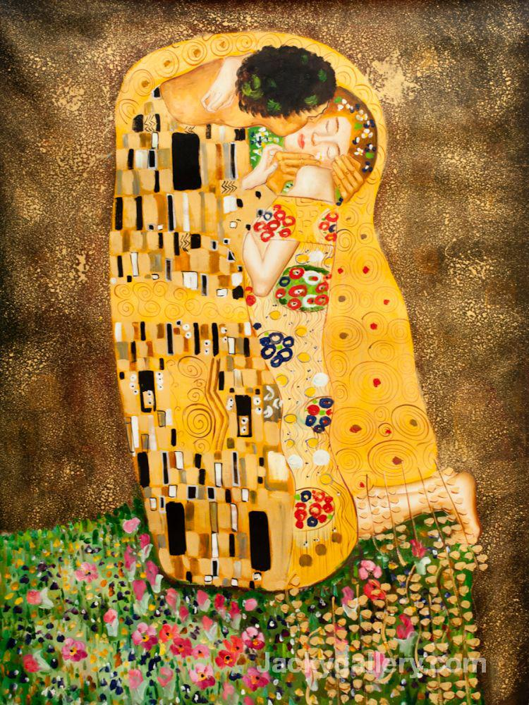 The Kiss (Full View) by Gustav Klimt paintings reproduction