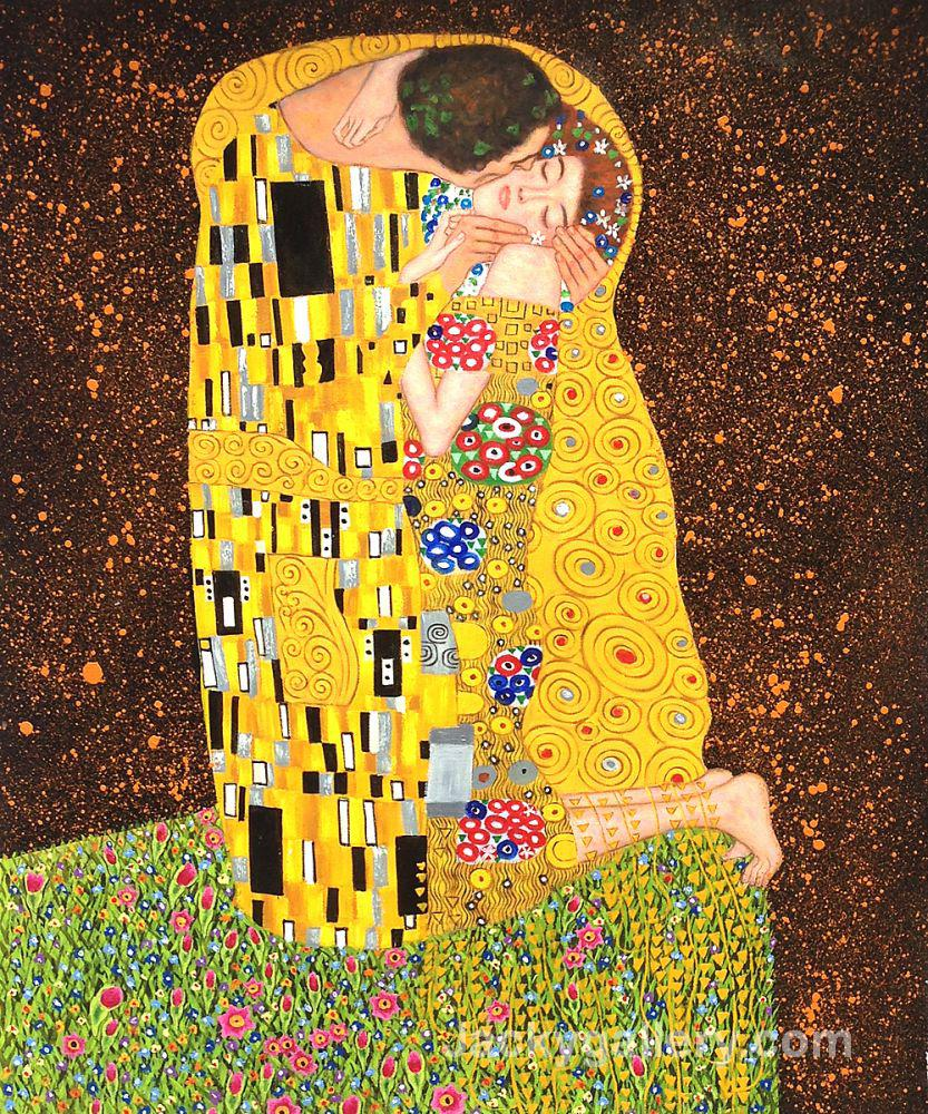 The Kiss (Full view) Red background by Gustav Klimt paintings reproduction