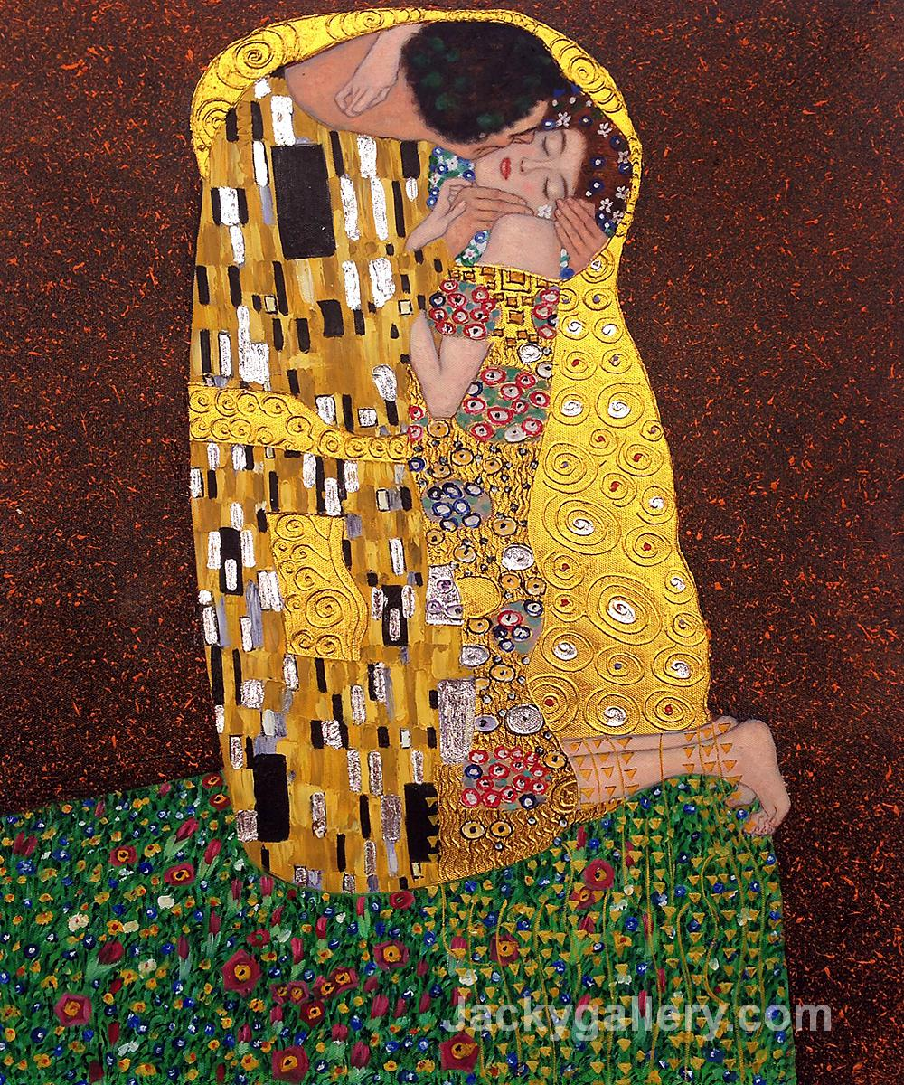 The Kiss Full View -( Luxury Line) by Gustav Klimt paintings reproduction