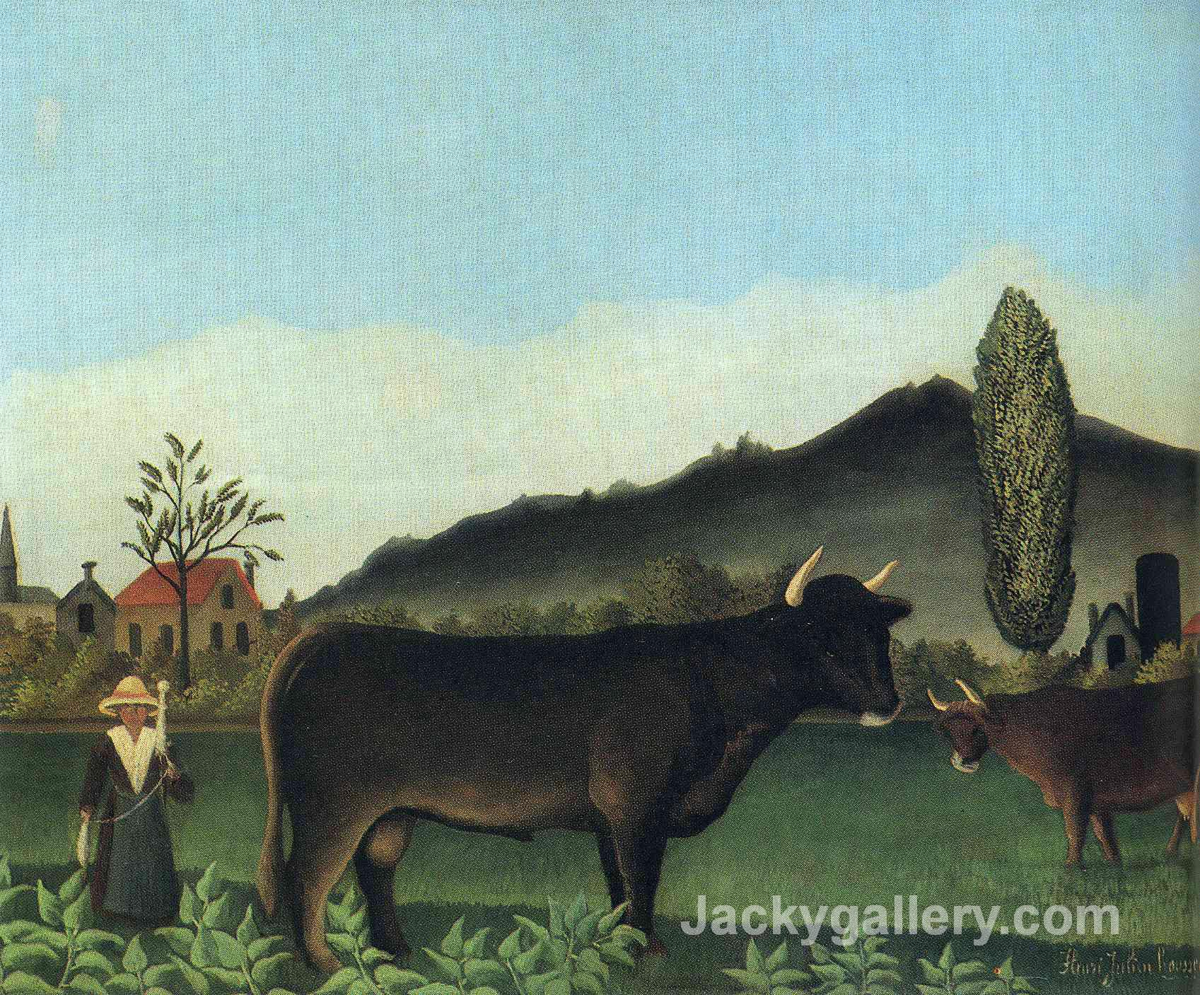 (Landscape with cow) by Henri Rousseau paintings reproduction