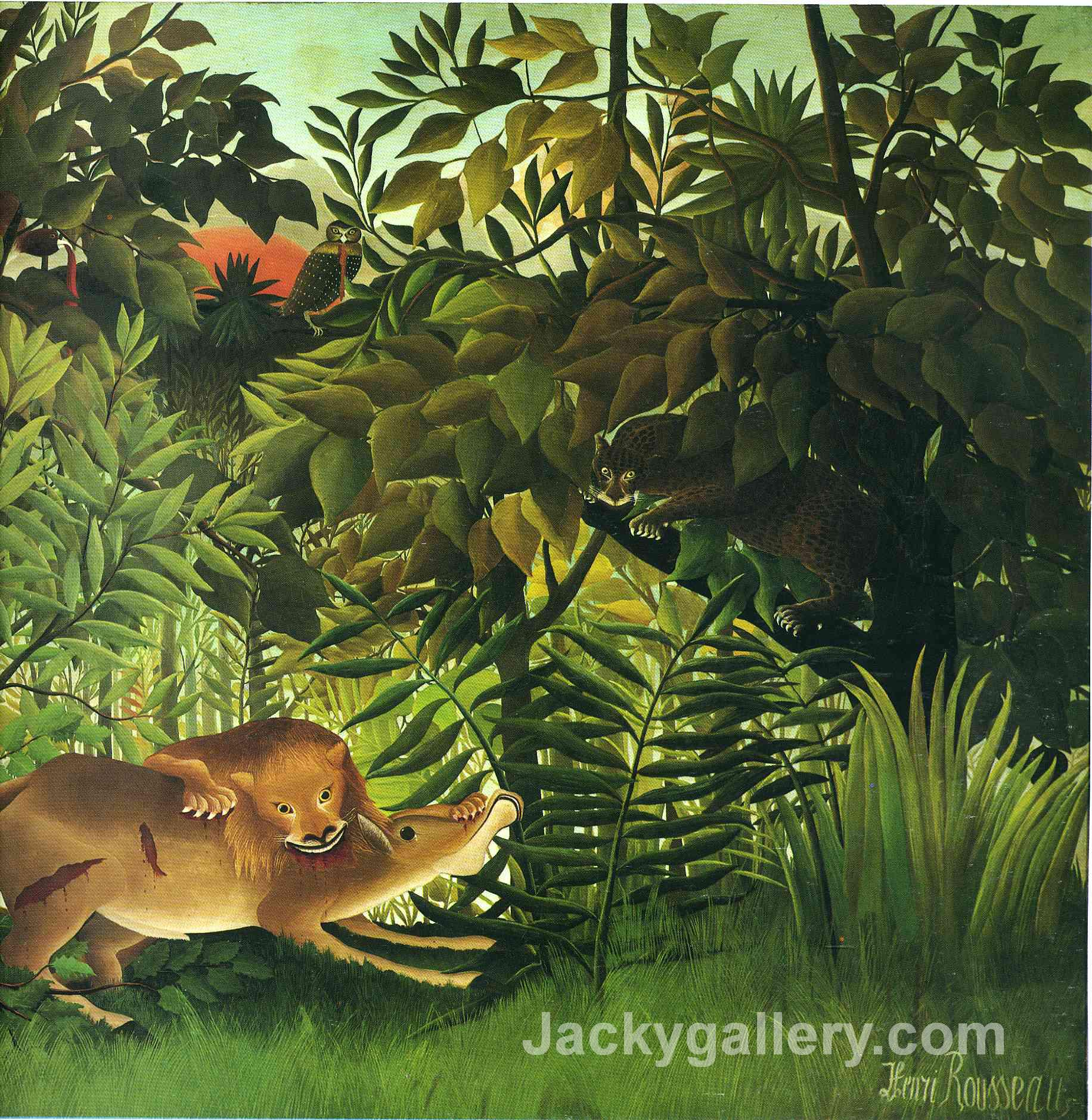 A Lion Devouring its Prey by Henri Rousseau paintings reproduction