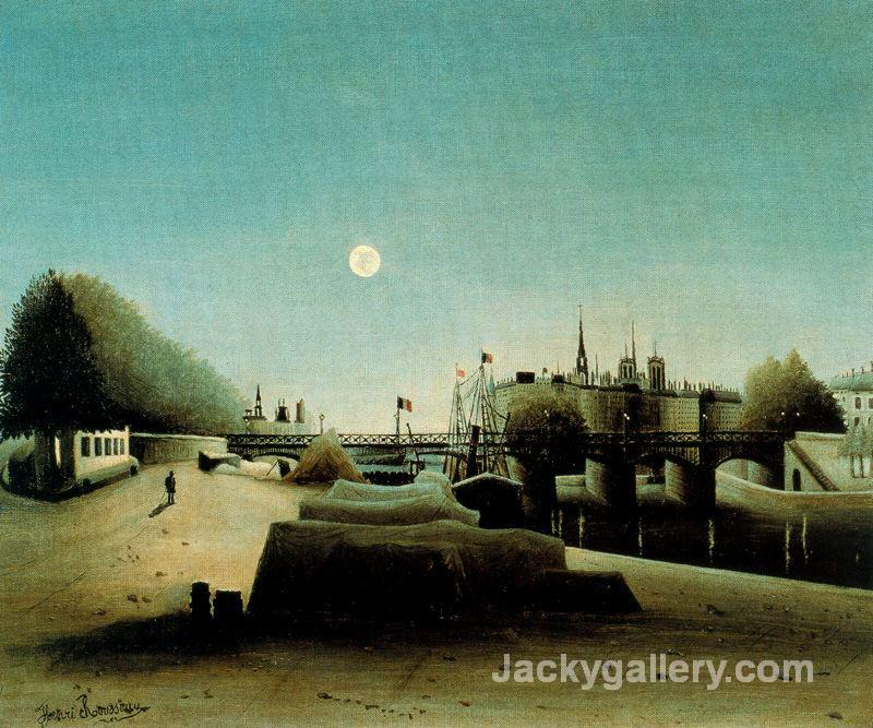 A View of the Ile Saint Louis from Port Saint Nicolas Evening by Henri Rousseau paintings reproduction