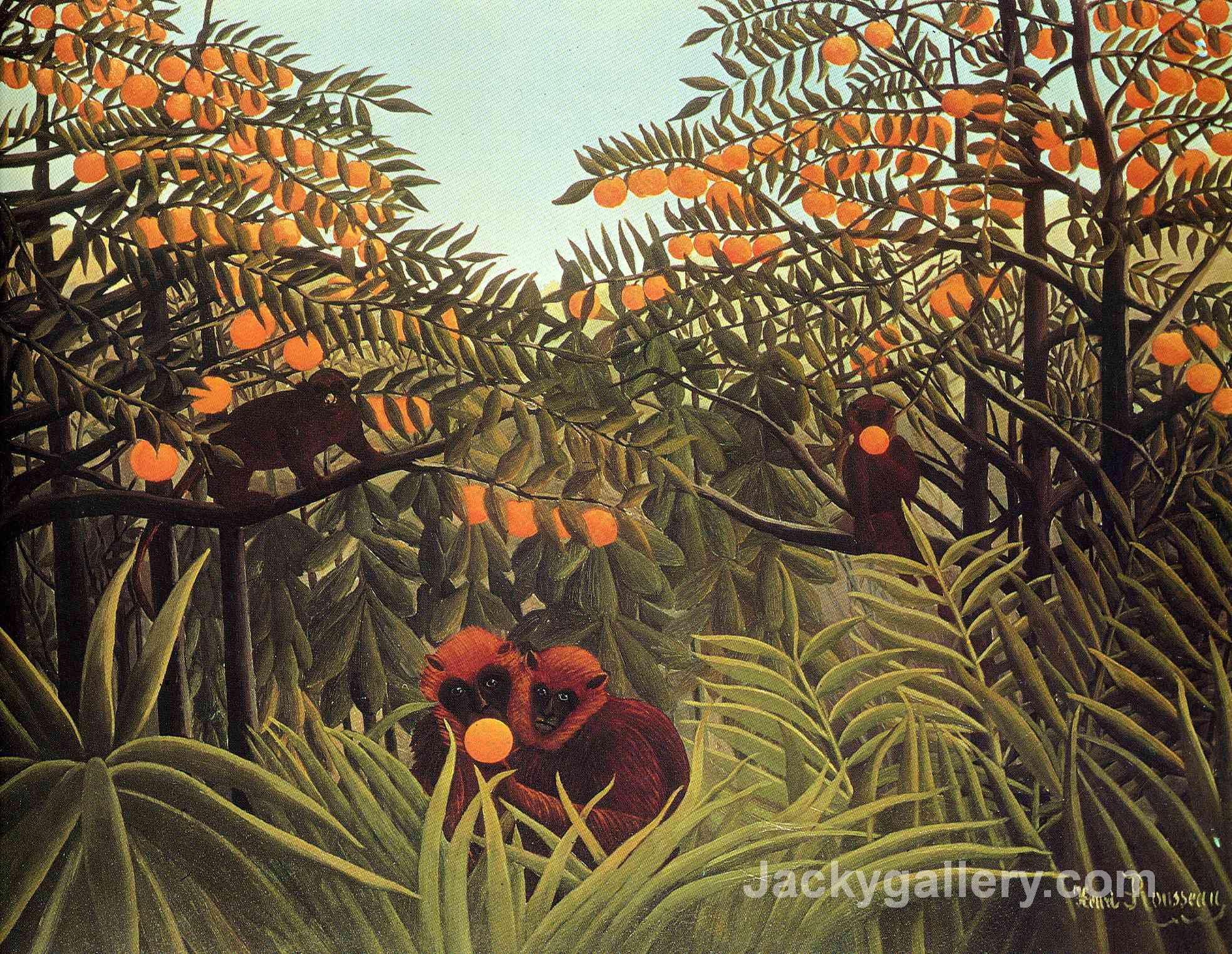 Apes in the Orange Grove by Henri Rousseau paintings reproduction