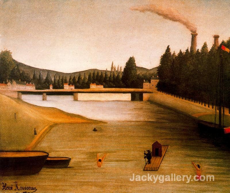 Bathing at Alfortville by Henri Rousseau paintings reproduction
