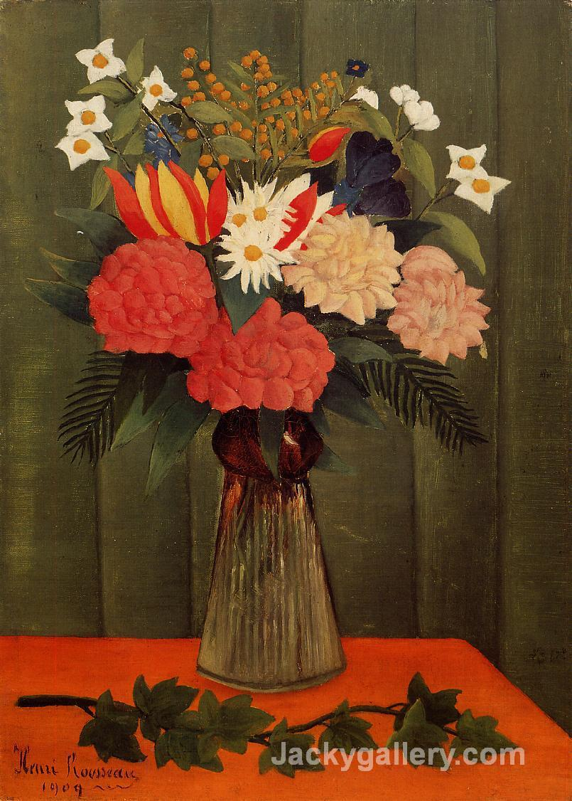 Bouquet of Flowers with an Ivy Branch by Henri Rousseau paintings reproduction