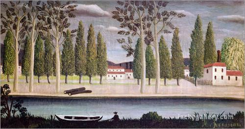 By the River, c. by Henri Rousseau paintings reproduction