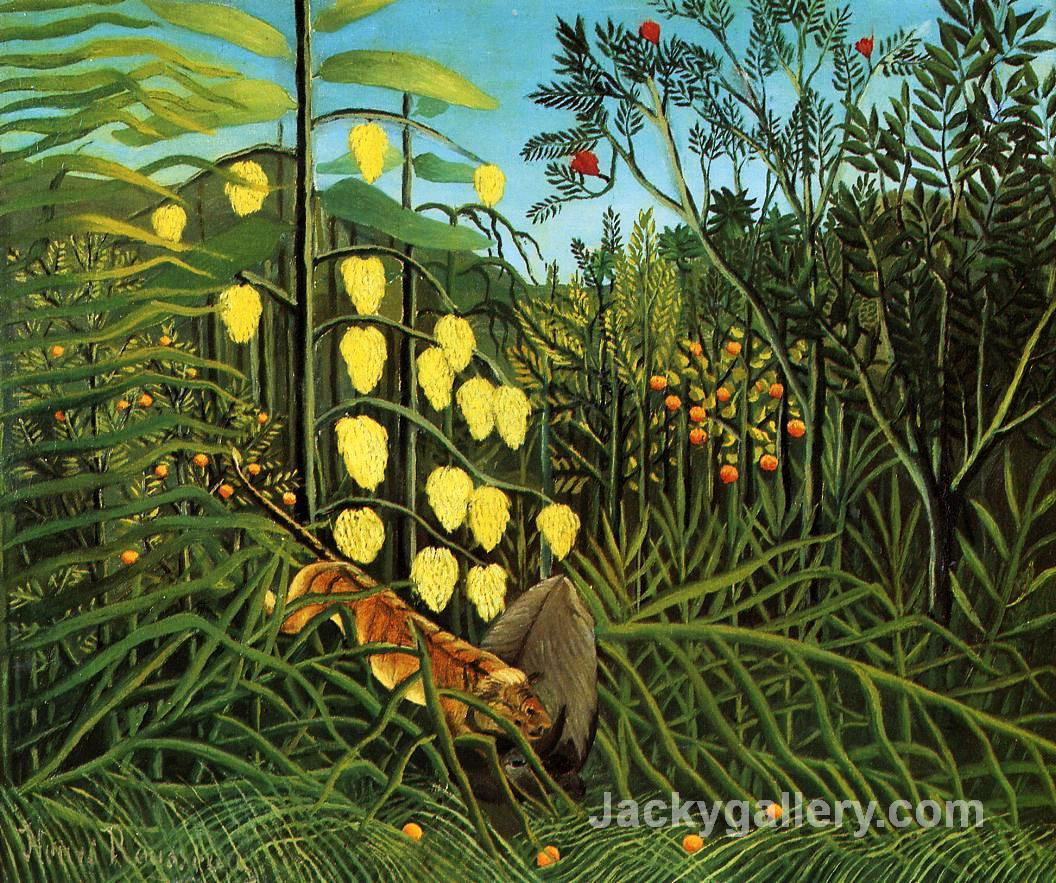 Combat of a Tiger and a Buffalo by Henri Rousseau paintings reproduction
