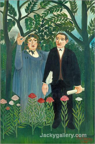 Der Poet Apollinaire und seine Muse. by Henri Rousseau paintings reproduction