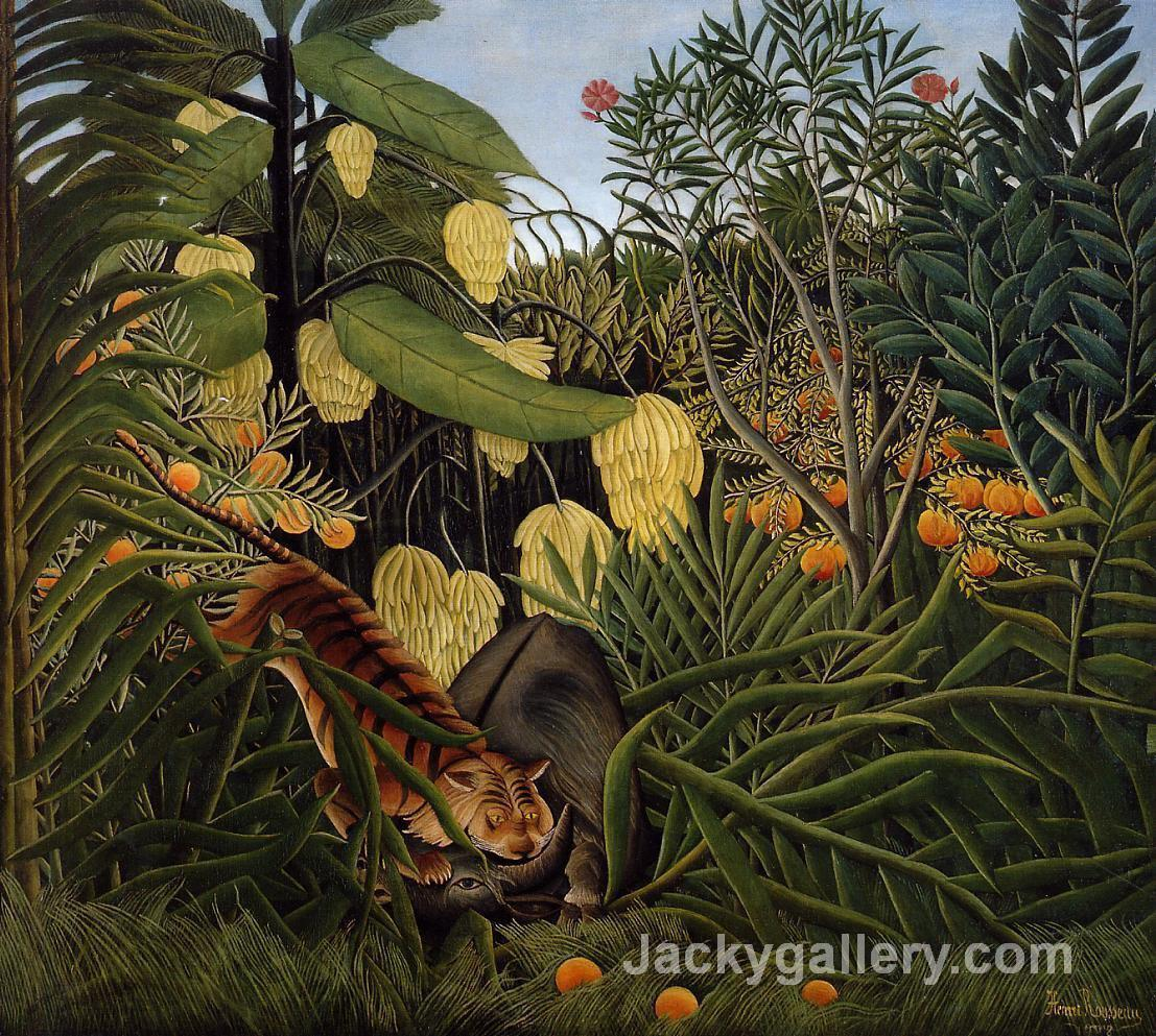 Fight Between a Tiger and a Buffalo by Henri Rousseau paintings reproduction
