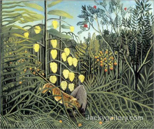 In a tropical forest by Henri Rousseau paintings reproduction