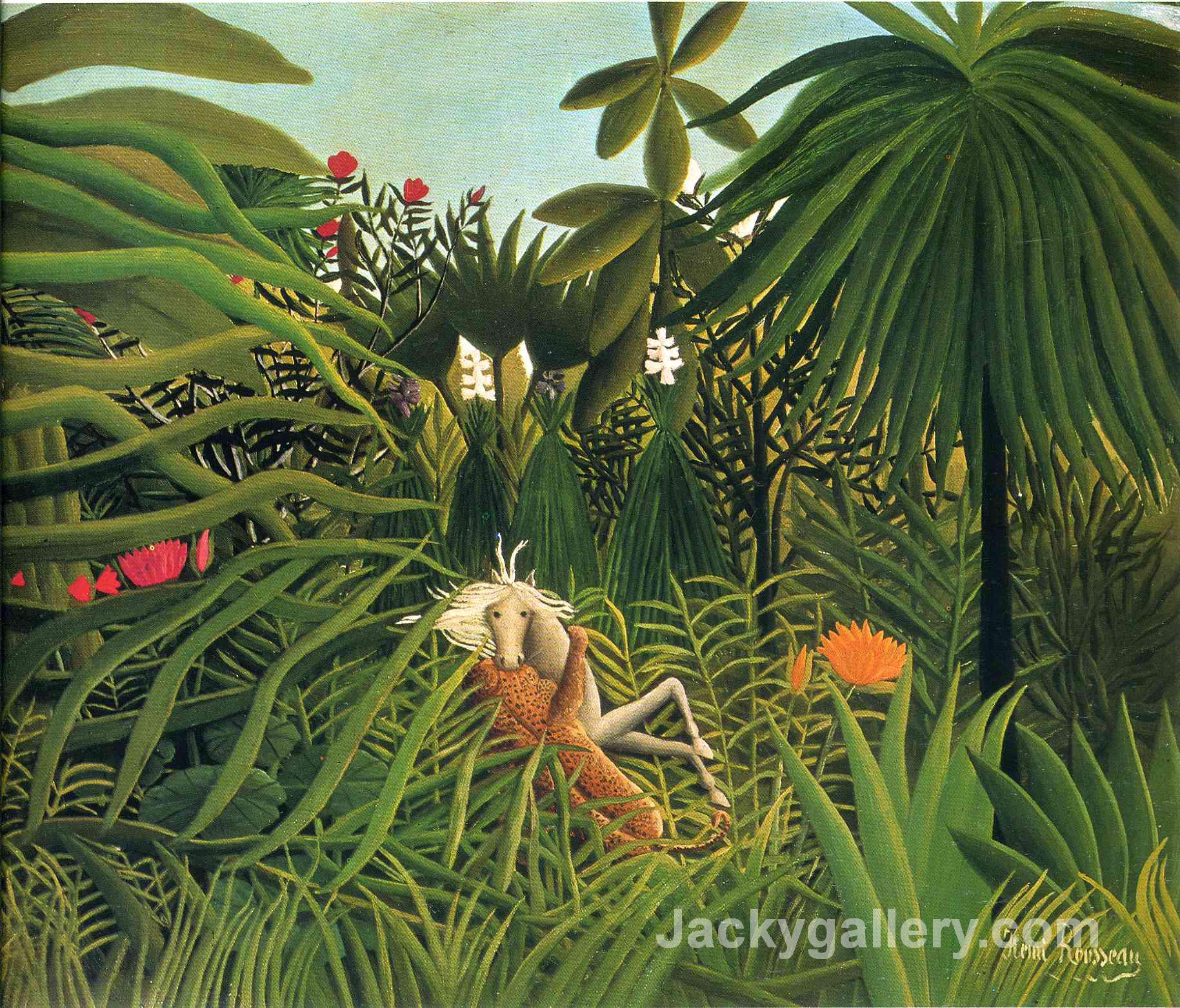 Jaguar Attacking a Horse by Henri Rousseau paintings reproduction