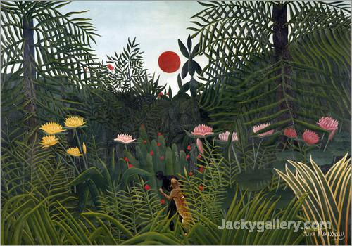 Jungle landscape with Setting Sun by Henri Rousseau paintings reproduction