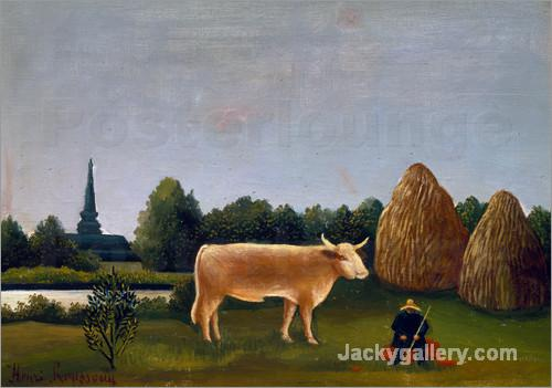 Landschaft mit Kuh (oder Ansicht bei Bagneux mit Kuh) by Henri Rousseau paintings reproduction