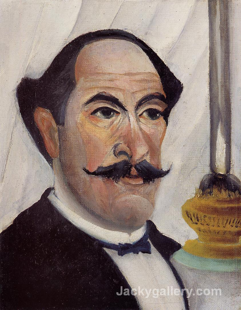 Self Portrait with a Lamp by Henri Rousseau paintings reproduction