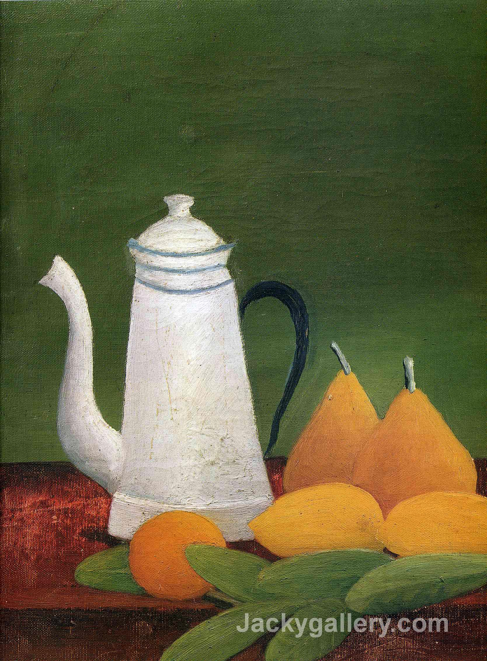 Still life with teapot and fruit by Henri Rousseau paintings reproduction