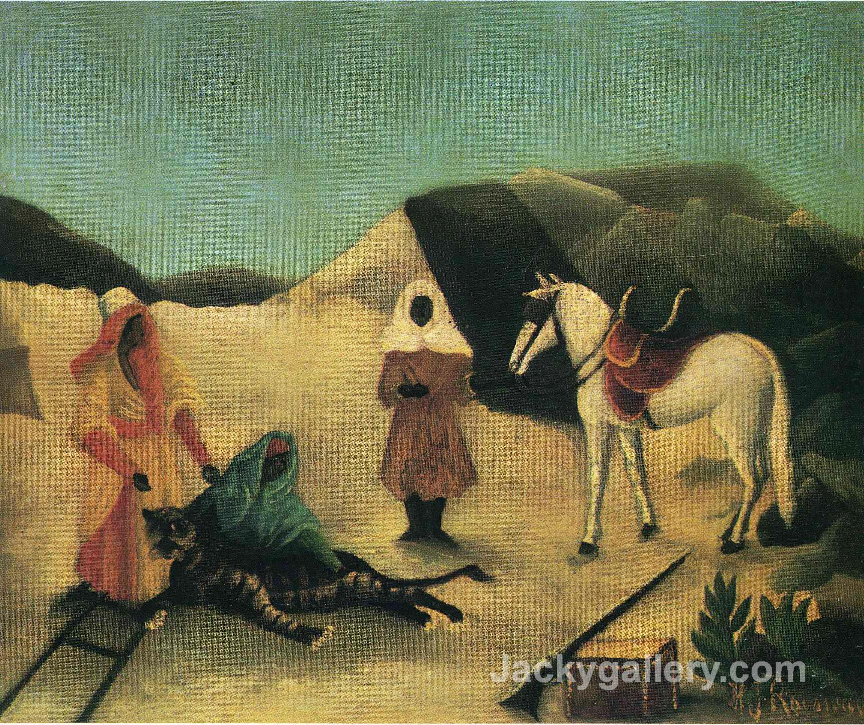 The Tiger Hunt by Henri Rousseau paintings reproduction