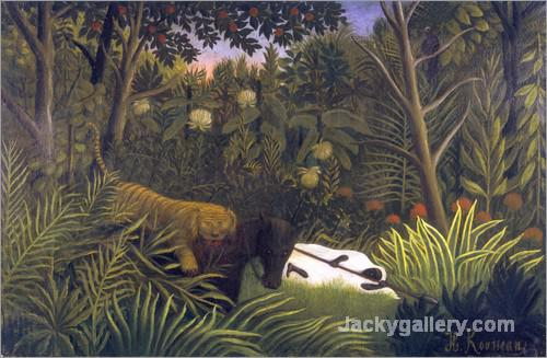 Tiger Attacking a Horse and a Sleeping Black Man by Henri Rousseau paintings reproduction