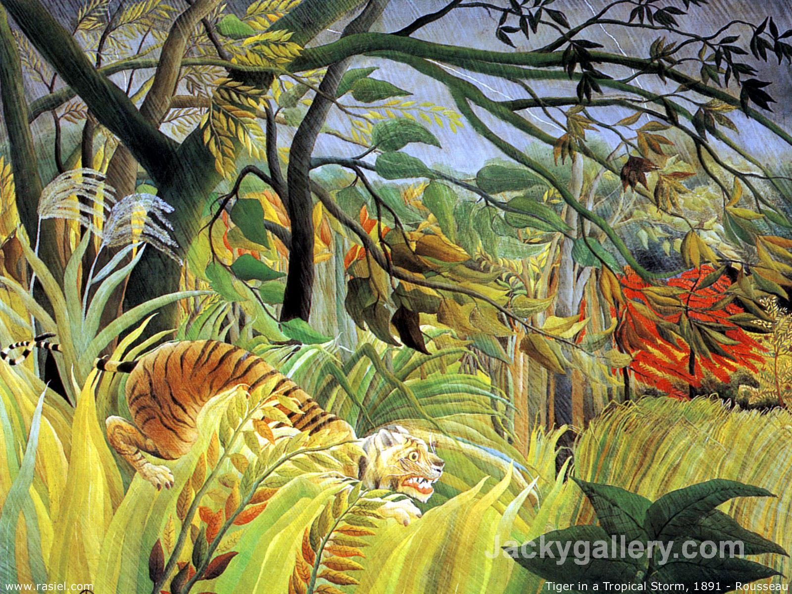 Tiger in a Tropical Storm (Surprised) by Henri Rousseau paintings reproduction