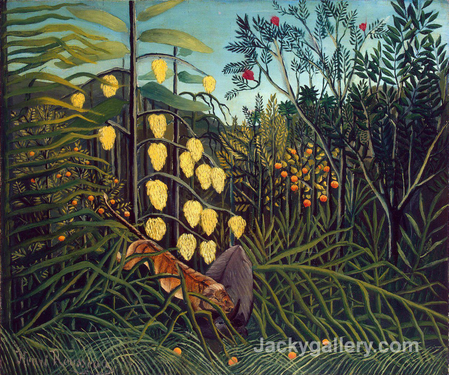 Tropical Forest Battling Tiger and Buffalo by Henri Rousseau paintings reproduction