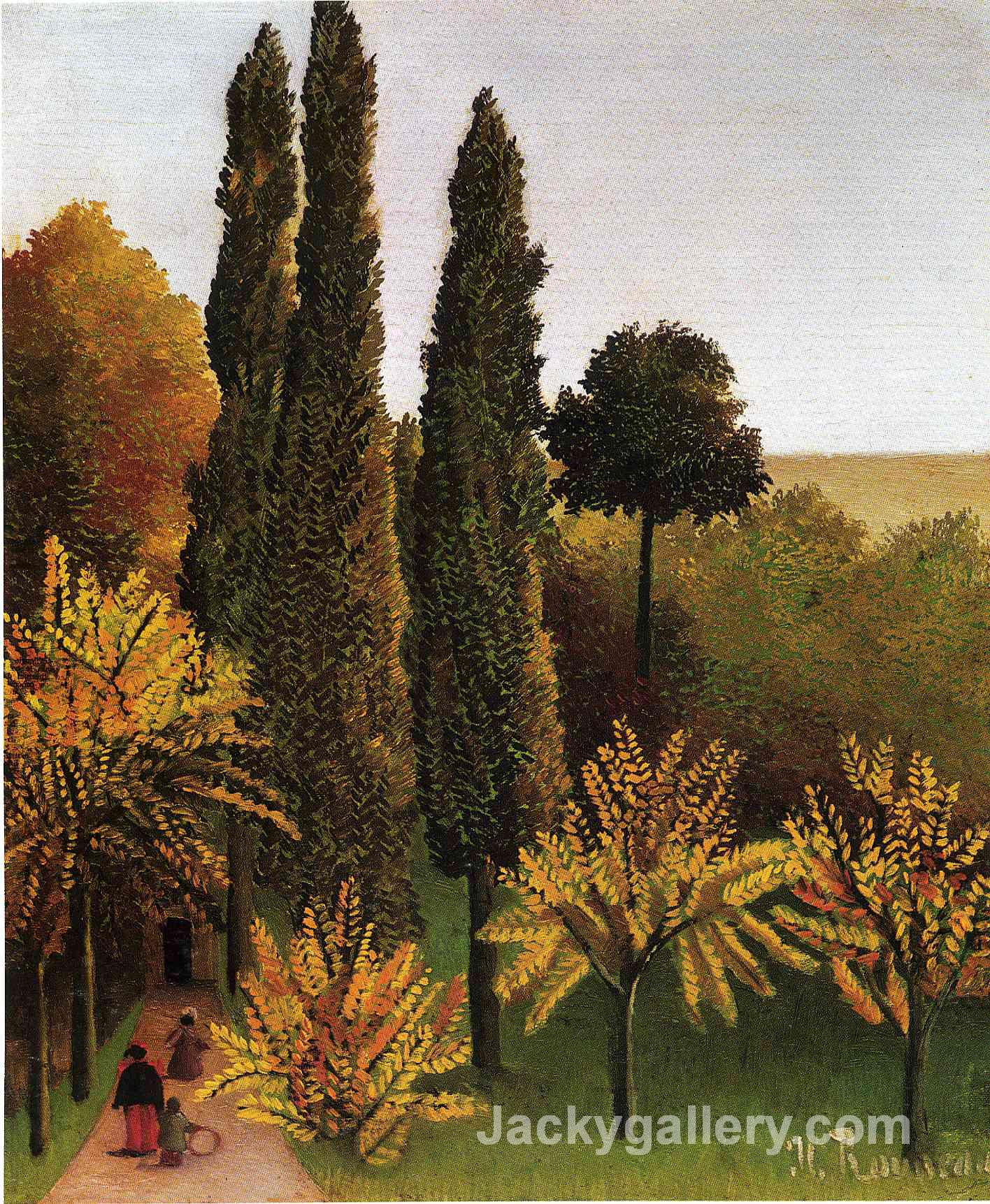 Walking in the Parc des Buttes Chaumont by Henri Rousseau paintings reproduction