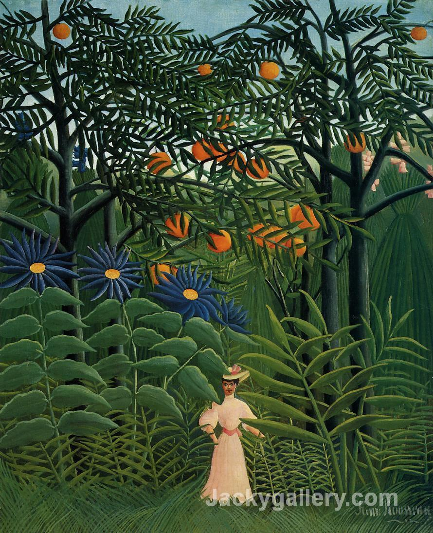 Woman Walking in an Exotic Forest by Henri Rousseau paintings reproduction