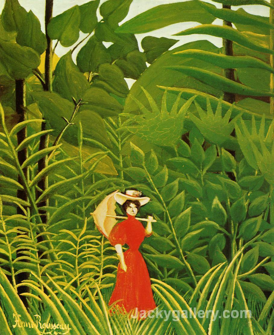 Woman with an Umbrella in an Exotic Forest by Henri Rousseau paintings reproduction