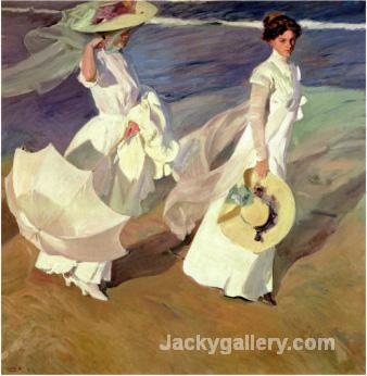A Walk on the Beach by Joaquin Sorolla y Bastida paintings reproduction