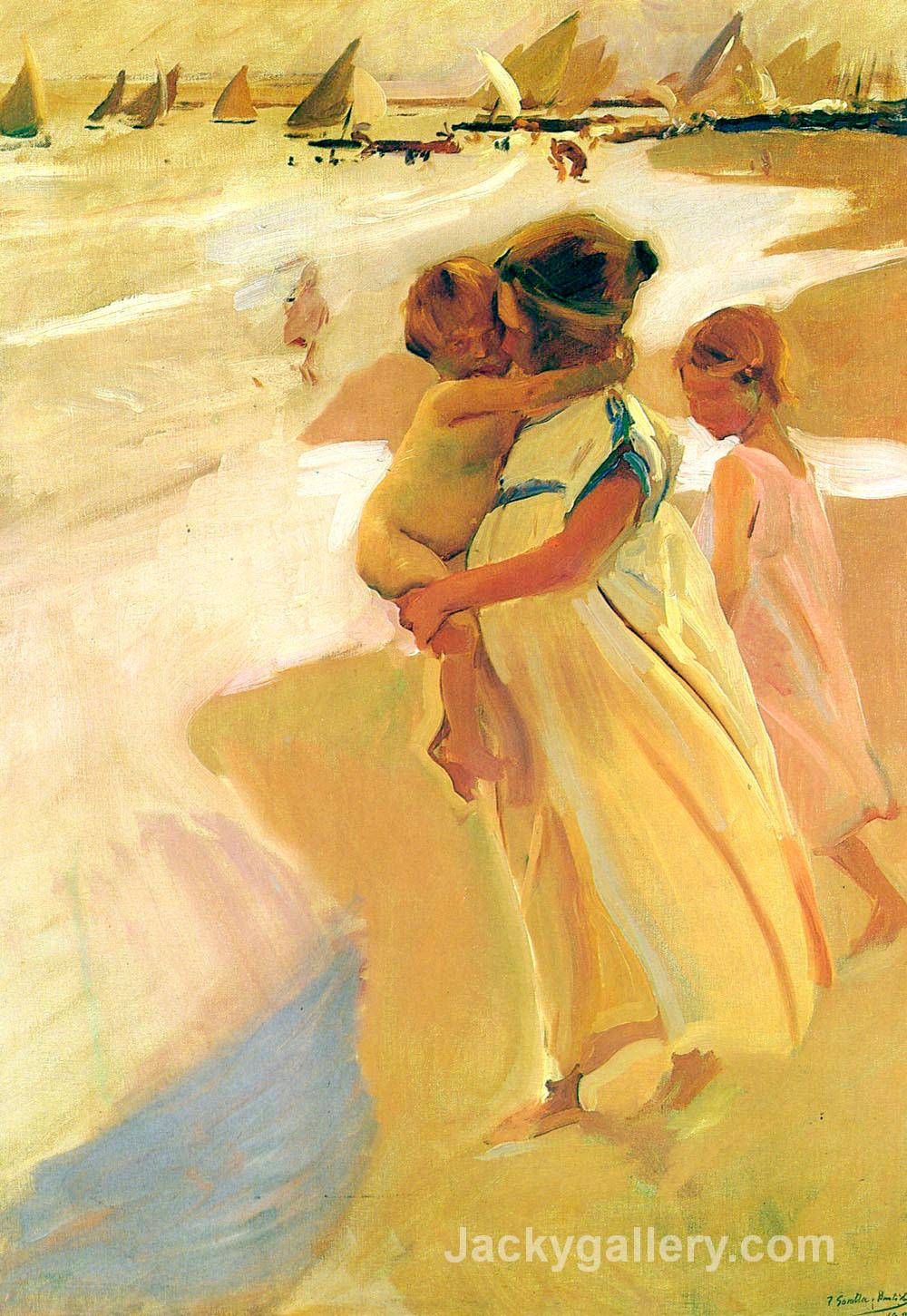After bathing, Valencia by Joaquin Sorolla y Bastida paintings reproduction