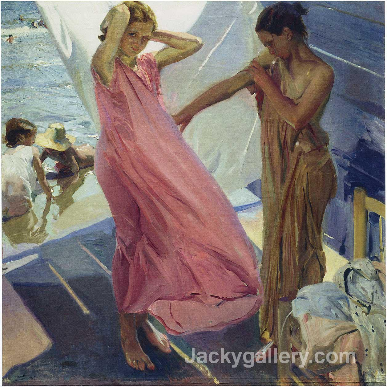 After the Bath, Valencia by Joaquin Sorolla y Bastida paintings reproduction