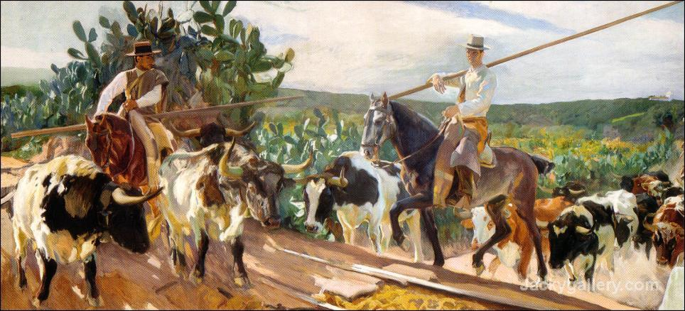Andalusia, The Round Up by Joaquin Sorolla y Bastida paintings reproduction