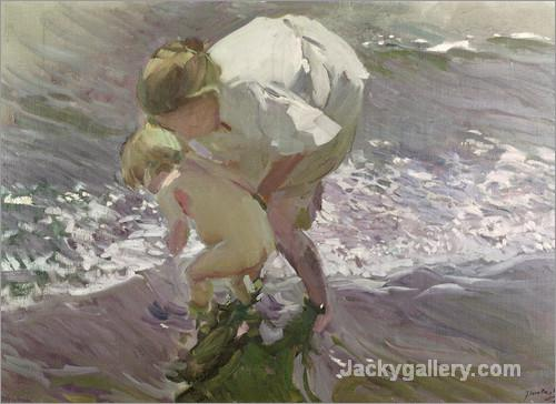 Bathing on the Beach by Joaquin Sorolla y Bastida paintings reproduction