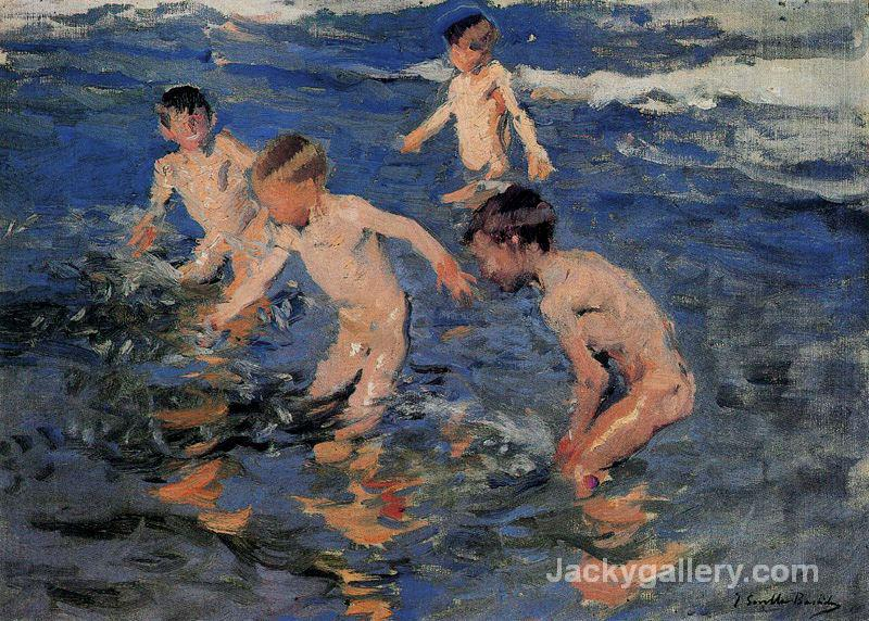 Bathing by Joaquin Sorolla y Bastida paintings reproduction
