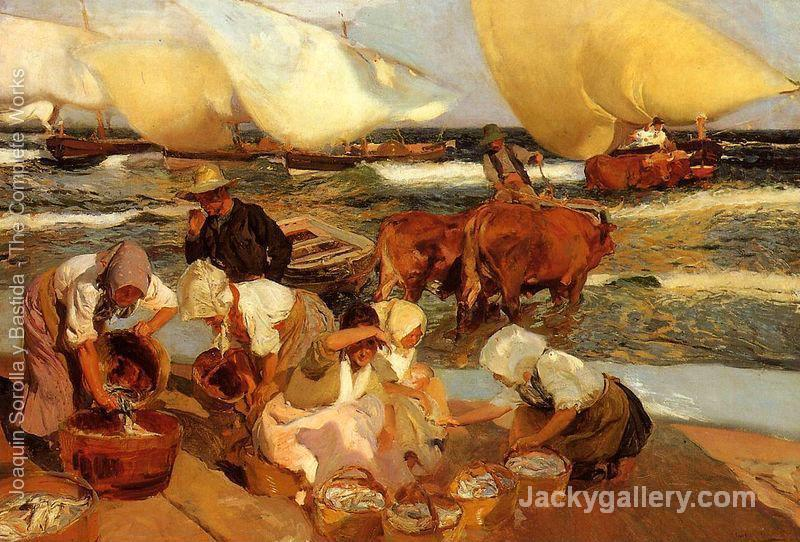 Beach at Valencia by Joaquin Sorolla y Bastida paintings reproduction