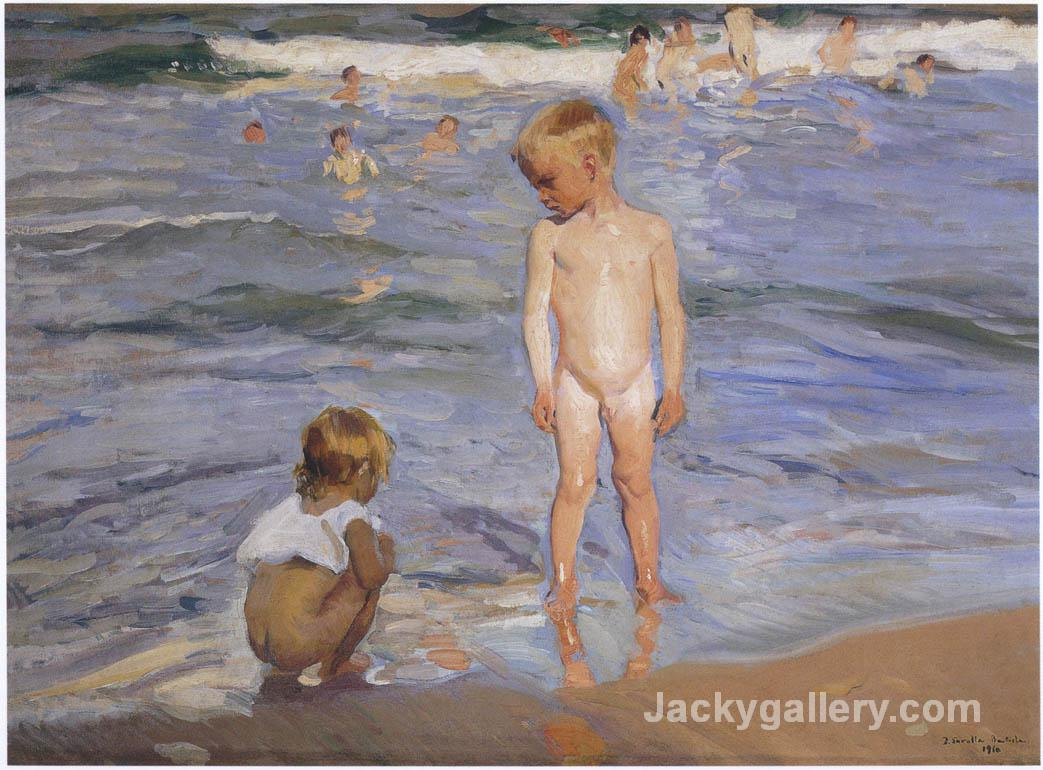 Children bathing in the afternoon sun by Joaquin Sorolla y Bastida paintings reproduction