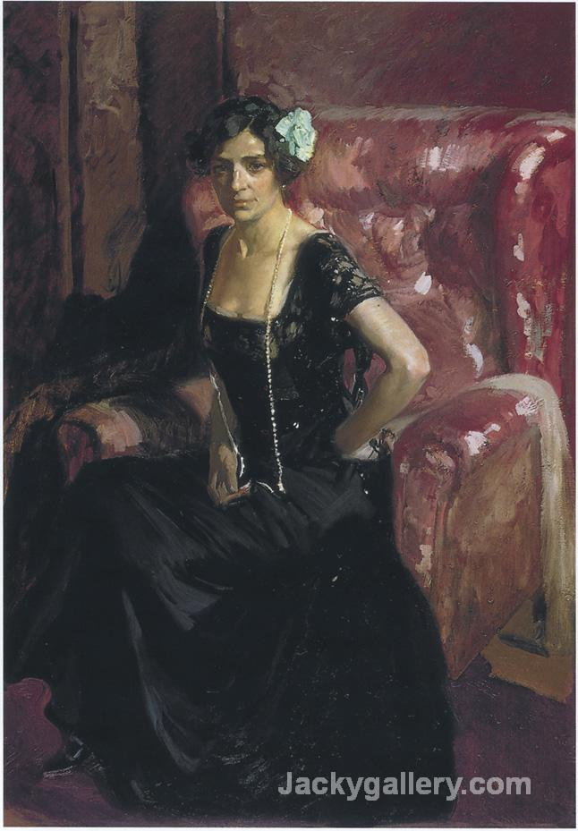 Clotilde in an Evening Dress by Joaquin Sorolla y Bastida paintings reproduction