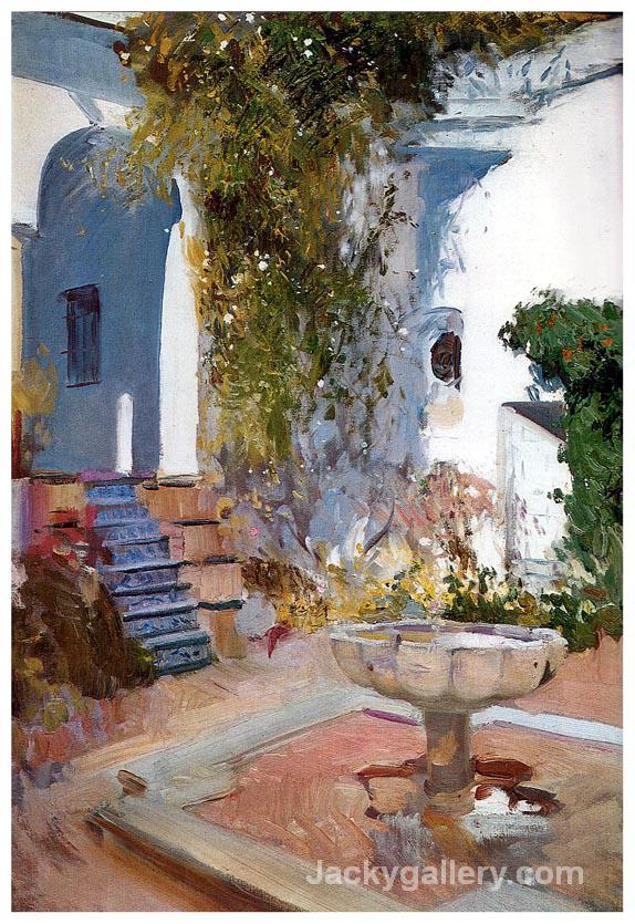 Fountain at the Alcazin Sevilla by Joaquin Sorolla y Bastida paintings reproduction