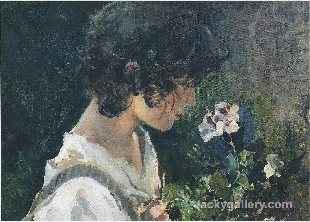 Italian Girl with Flowers by Joaquin Sorolla y Bastida paintings reproduction