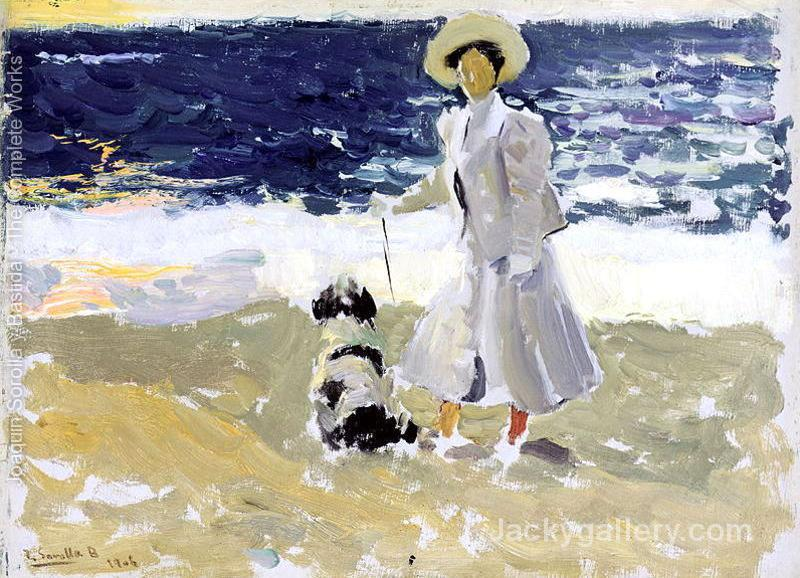 Lady and Dog on the Beach by Joaquin Sorolla y Bastida paintings reproduction